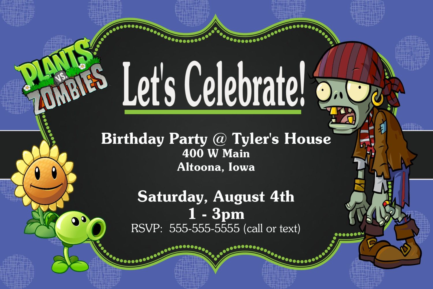 Custom Plants vs Zombies Birthday Party Invitation Print at Home ...