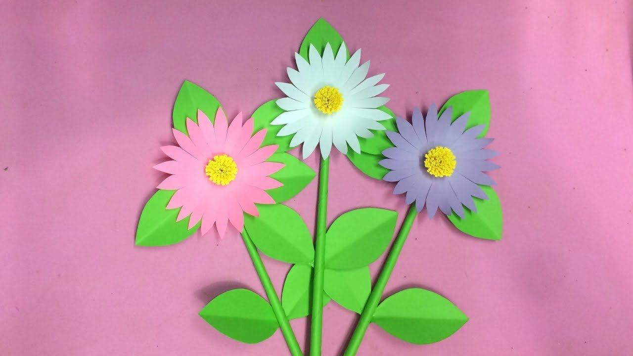 How To Make Daisy Flower With Paper Making Paper Flowers Step By