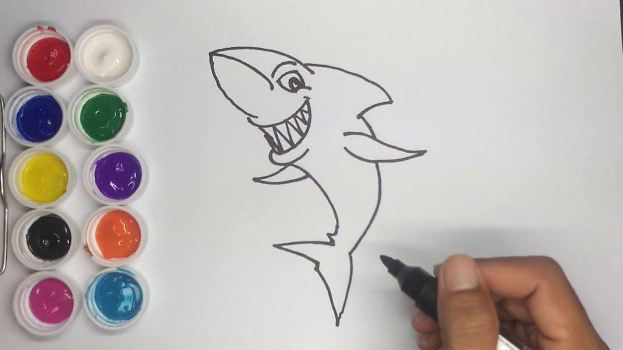 Cara Menggambar Dan Mewarnai Ikan Hiu Cara Menggambar Gambar Warna