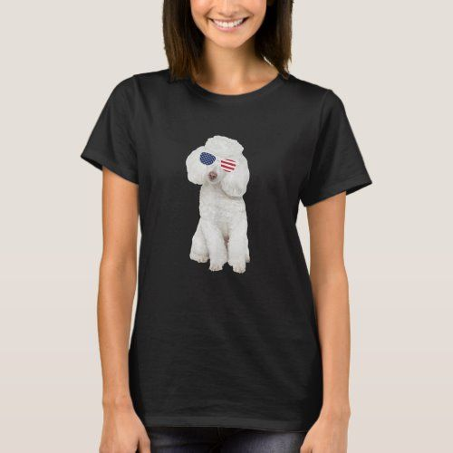 Poodle Wearing Sunglasses 4th Of July Dog T-Shirt