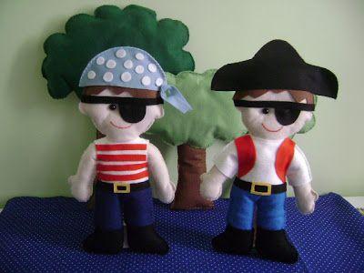 Arte em Feltro: Bonecos para Decoração de Festa - Piratas