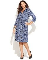 INC International Concepts Plus Size Dress, Three-Quarter-Sleeve Printed Shirtdress