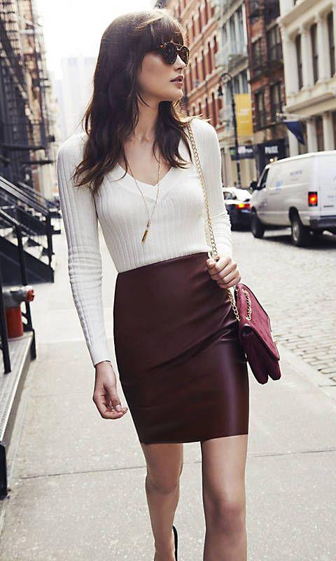 6c84759063de1 High Waist (minus The) Leather Pencil Skirt