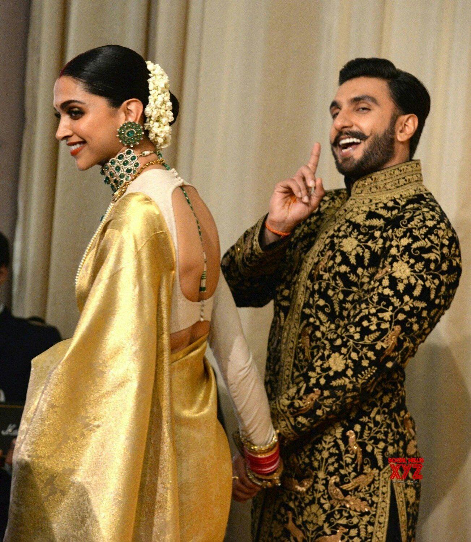 Deepika Padukone And Ranveer Singh At Their Reception In Bangalore Mrandmrsdeepveer Deepika Padukone Saree Indian Bridal Wear Indian Saree Blouses Designs