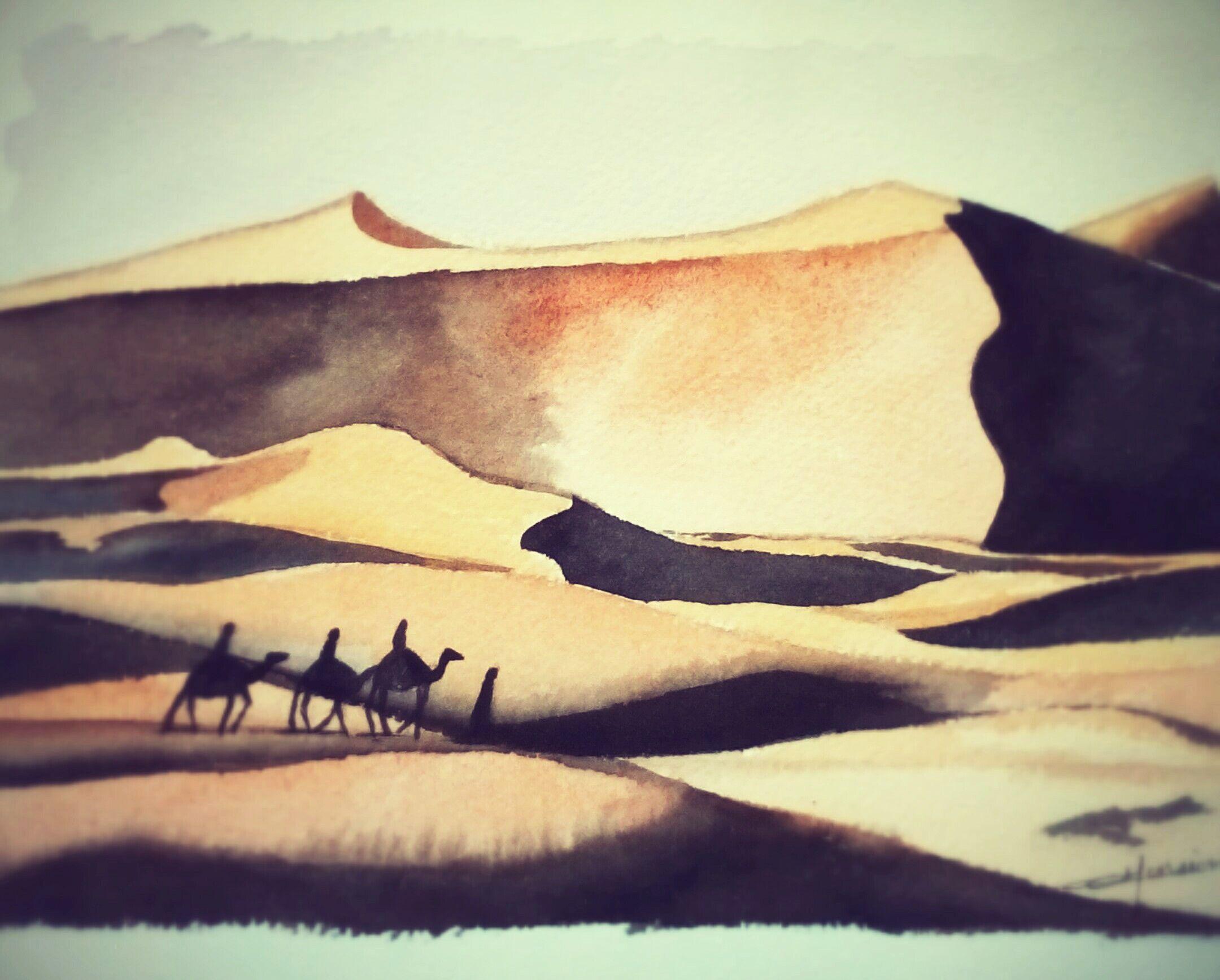 Dunes Du Sahara Sud Du Maroc Aquarelle Christine Monsion