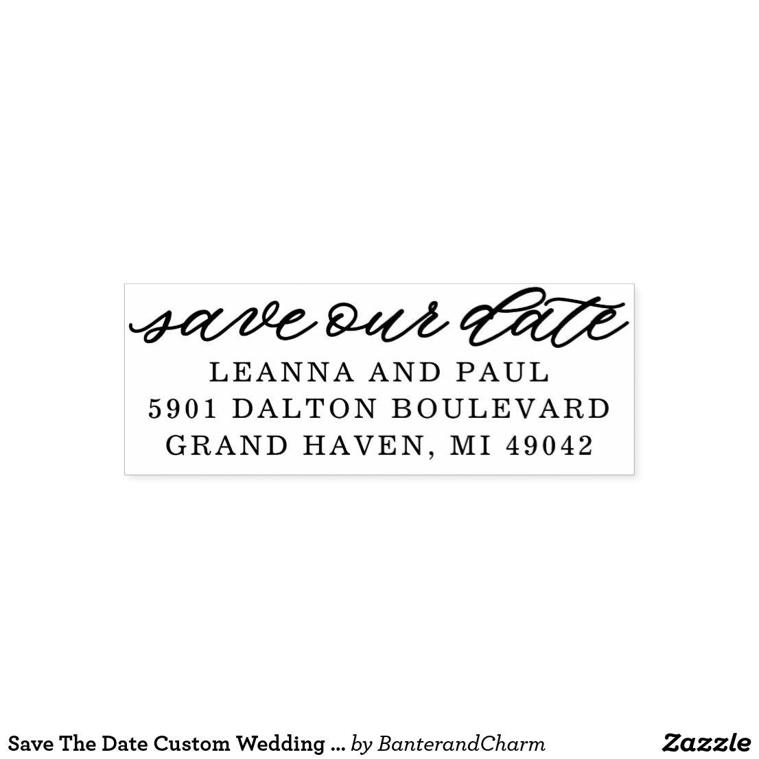 save the date custom wedding return address rubber stamp in 2018