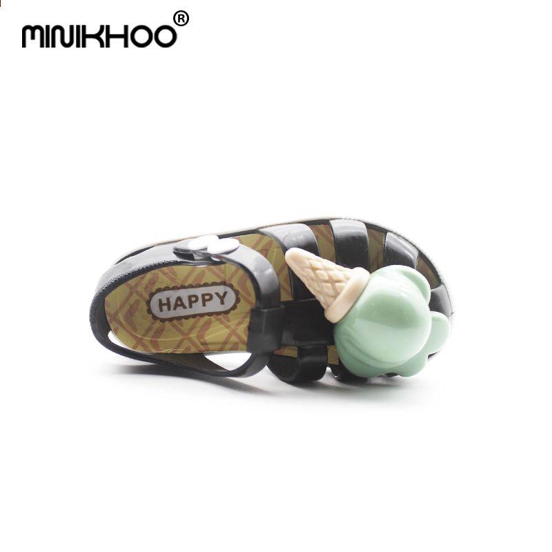 Mini Melissa 2018 Нові дитячі салати з железами Морозиво Міні Melissa  Римські туфлі Нековзні пляжні черевики 43fe5795a8781