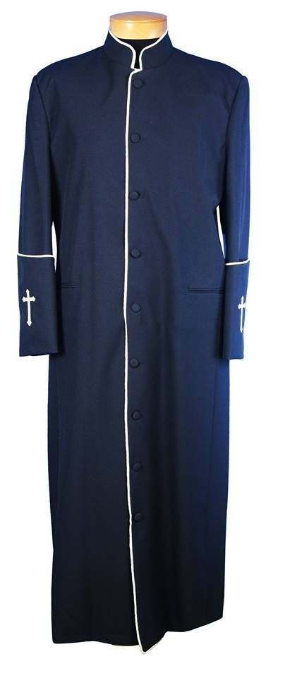 3f07666572 Men s Clergy Robe in Navy and Silver Trim - Divinity Clergy Wear