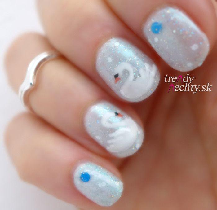 Swan manicure, winter manicure, Nail art, Nail designs