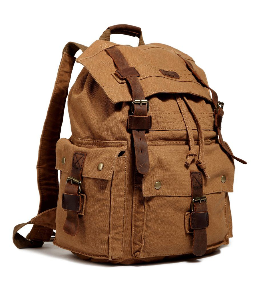 d7ed7d32e5 Amazon.com  Kattee Vintage Canvas Leather Hiking Travel Backpack Rucksack  School Bag Army Green  Clothing