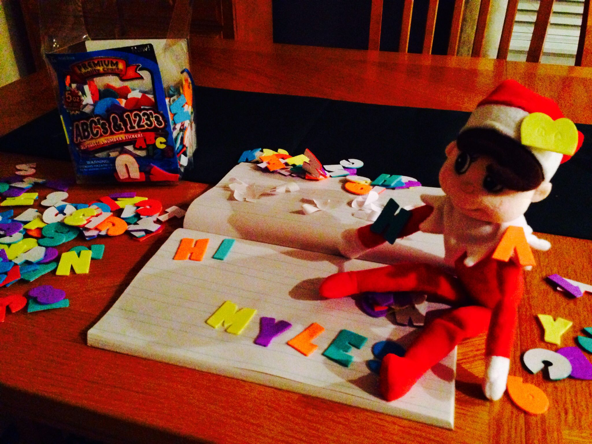 Elf On The Shelf Writing A Note With Self Stick Foam