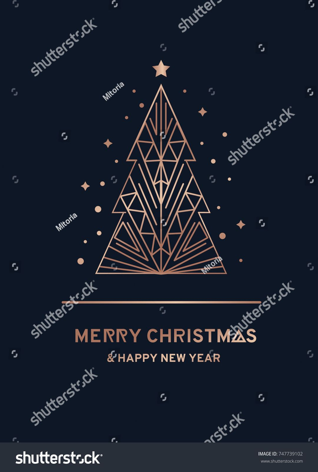 Abstract Geometric Christmas Shapes Rose Gold