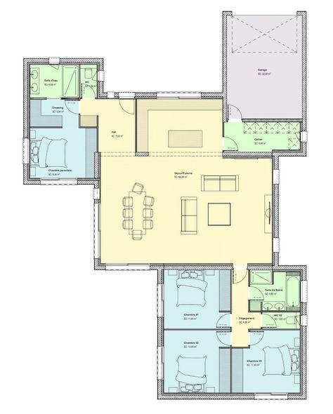 Maison biscornue - site web - copie maison bord de mer Pinterest - plan de maison de 100m2 plein pied