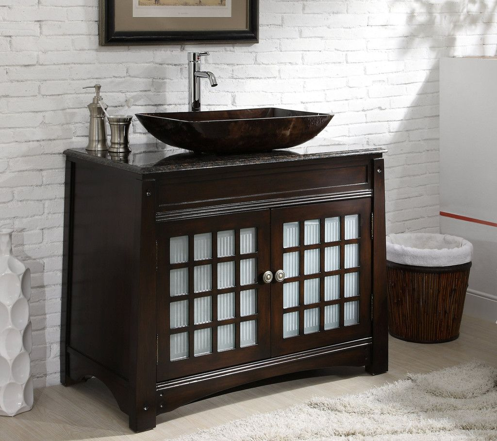 Adelina 38 Inch Vessel Sink Bathroom Vanity Granite Top Bath