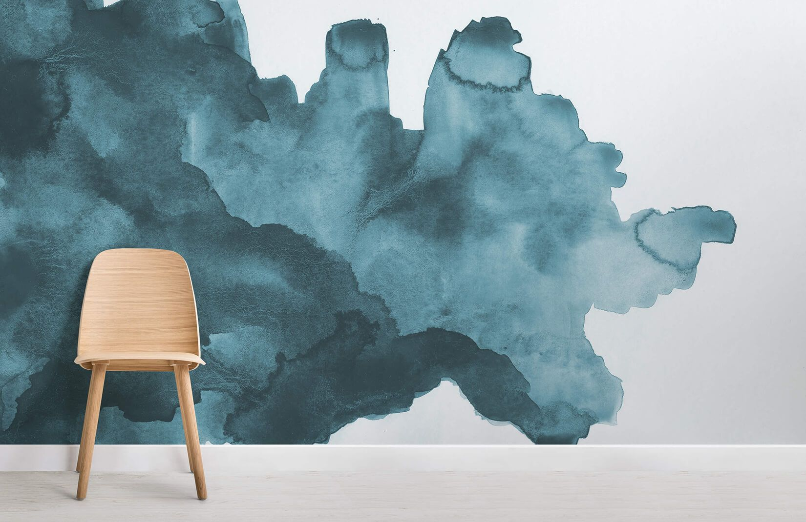 Deep Blue Waves Watercolor Wall Mural Teal Watercolor Wallpaper