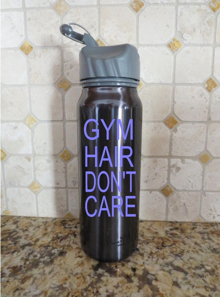 Gym Hair Dont Care Decal Water Bottle Decal Fitness Exercise - Custom vinyl decals etsy