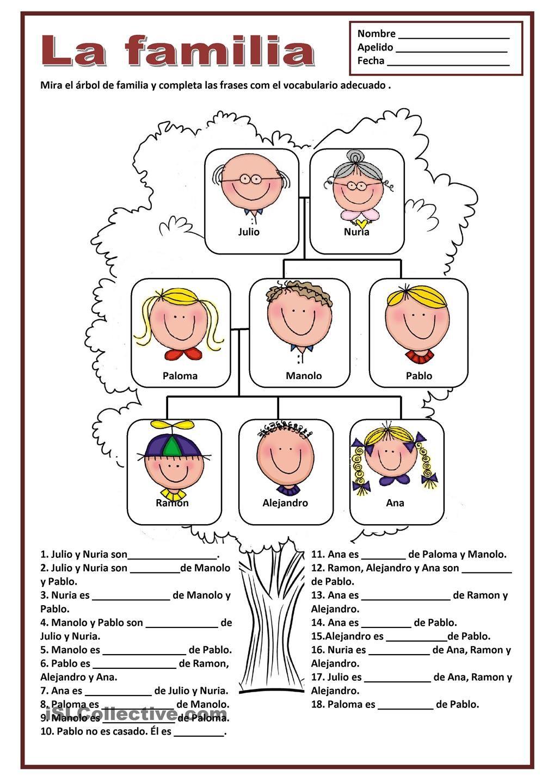 worksheet La Familia Worksheets 1000 images about la familia on pinterest family units creative language class and spanish