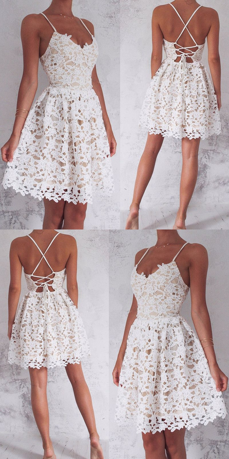 Aline spaghetti straps laceup white lace short homecoming dress