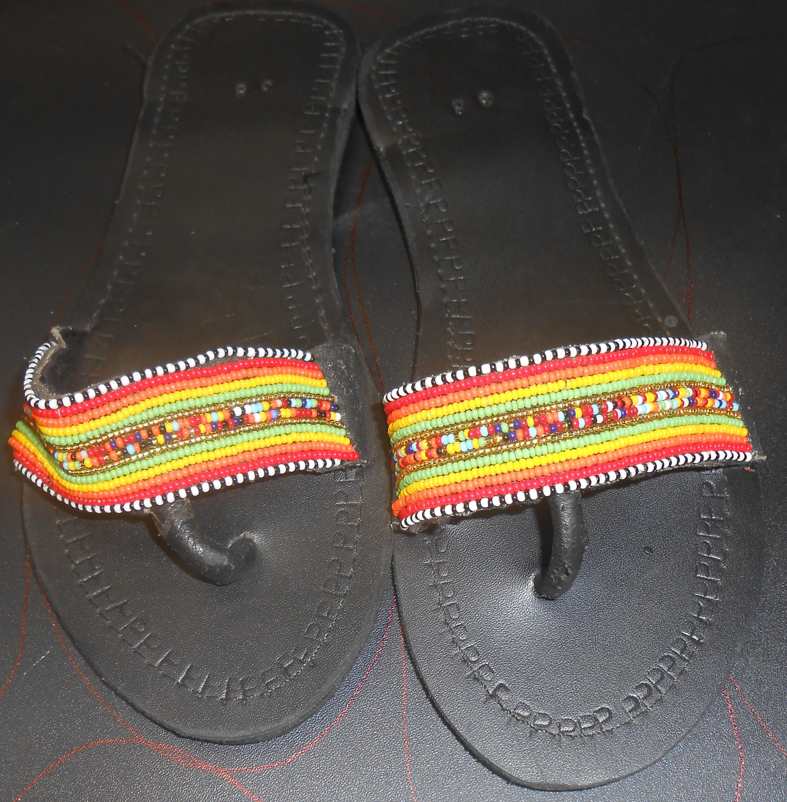 Leather Sandals decorated using beads