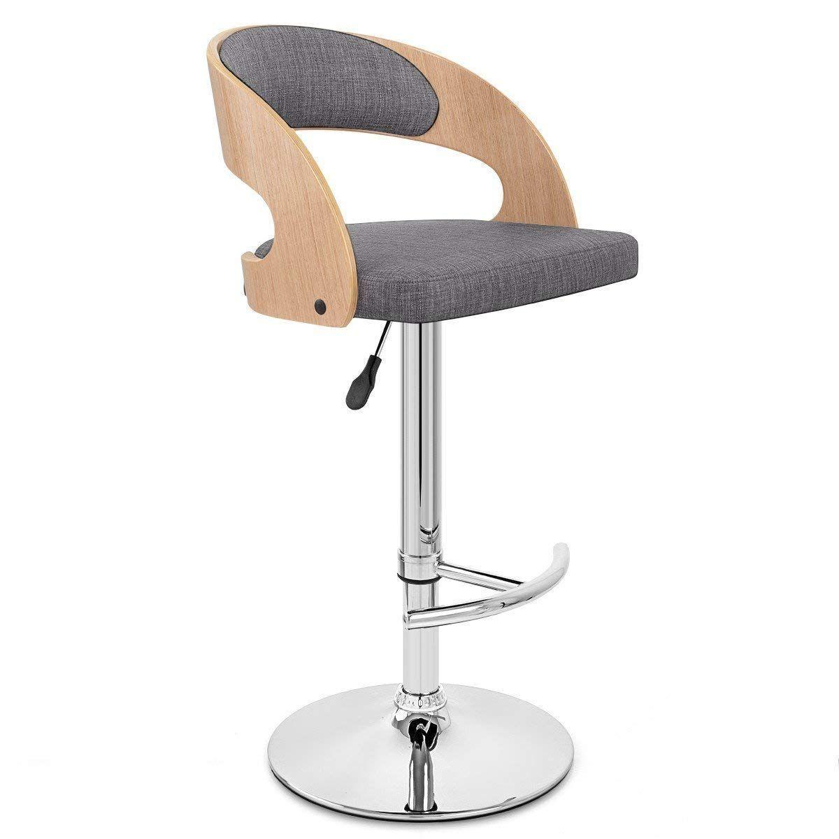 Chuan Han Bar Stool Bar Chair Adjustable Rotating Gas Lift, Chrome