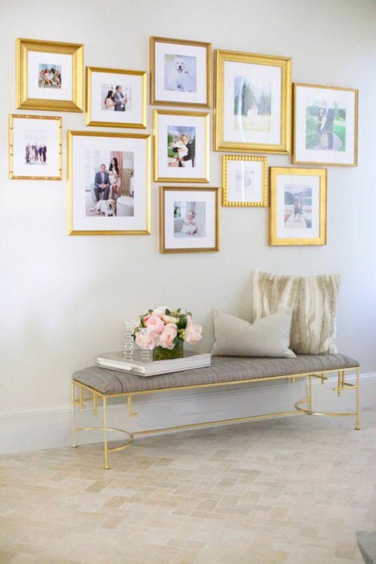 Awesome Wohnzimmer Wand Dekorieren Goldene Bilderrahmen