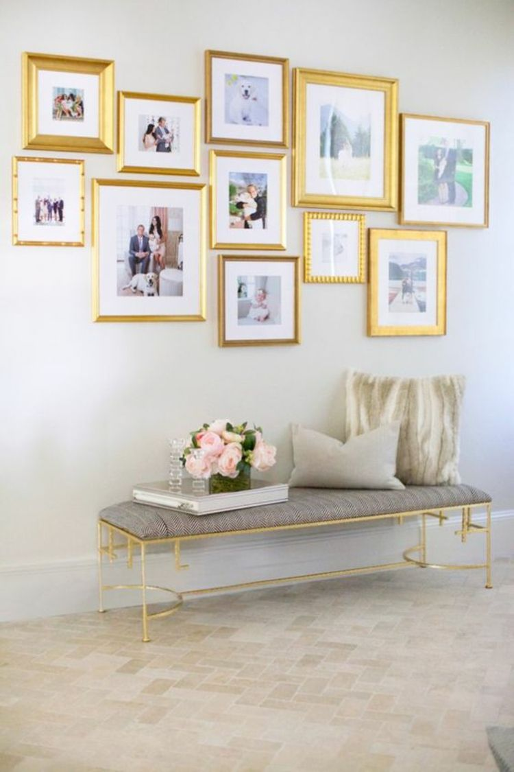 50 fotowand ideen die ganz leicht nachzumachen sind pinterest goldene bilderrahmen wand. Black Bedroom Furniture Sets. Home Design Ideas