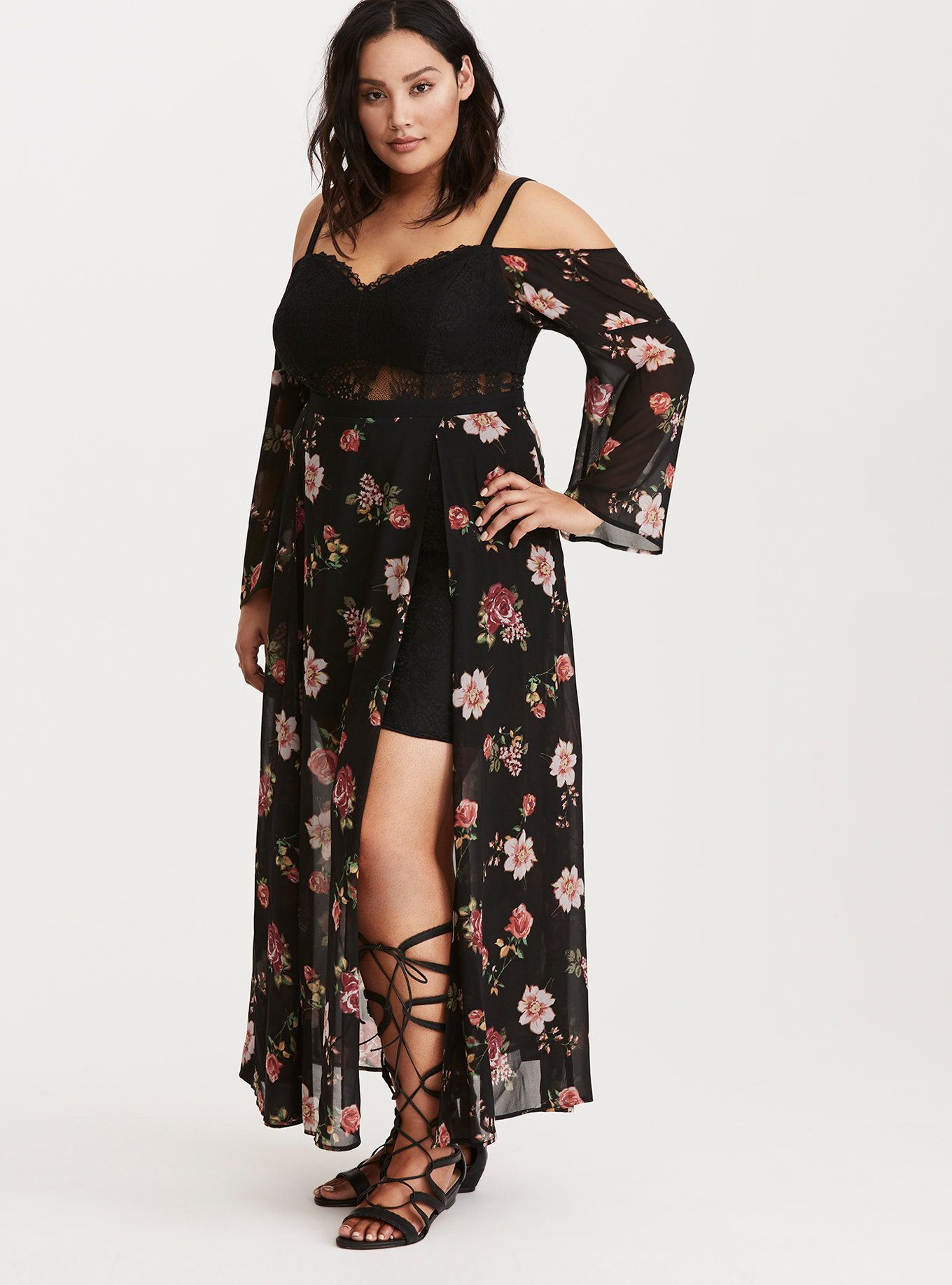 7a5e3347110 Torrid Insider Floral Print Cold Shoulder Lace Bustier Maxi Dress
