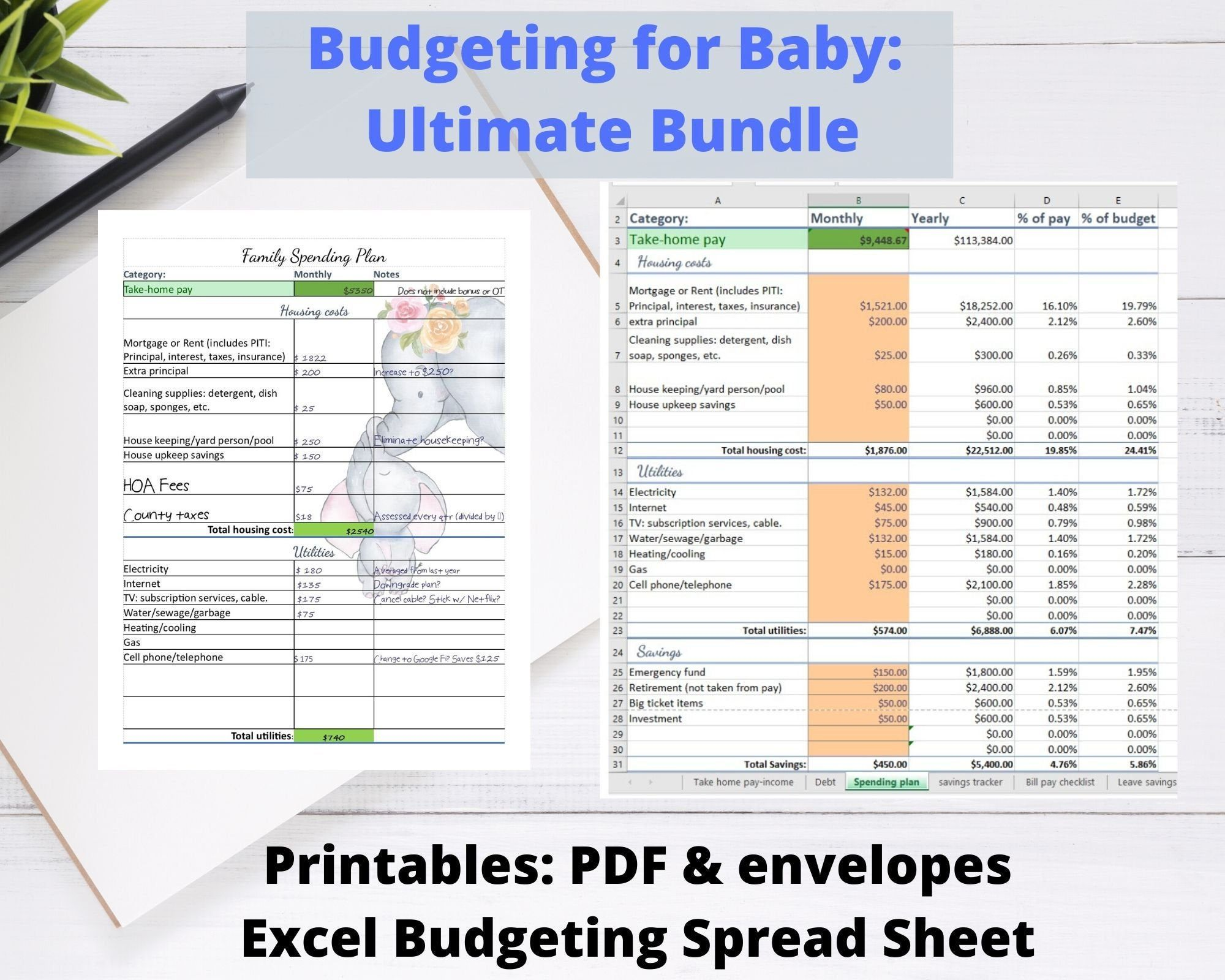 Printable Budgeting For Baby Bundle Excel Budget