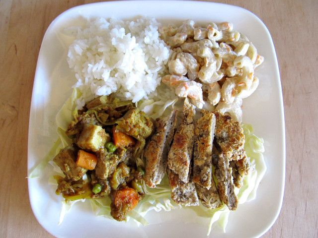 Vegan Hawaiian Plate Lunch from Bread Without Butter: Hawaiian foods