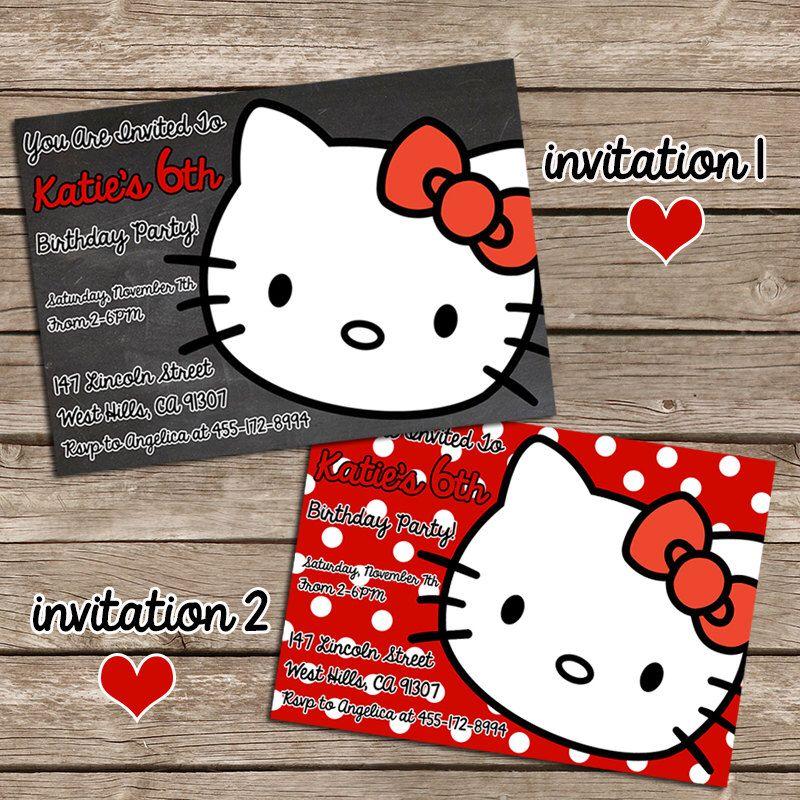 hello kitty birthday invitation hello kitty party invite personalized printable hello kitty invite