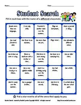 Back To School Ice Breaker Student Search For Grades 4 6 Free First Day Of School Activities School Activities Teaching