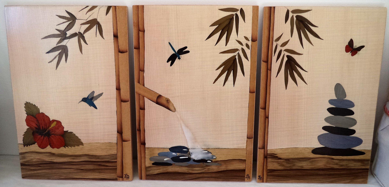 Triptyque En Marqueterie De Tableaux Inspiration Zen