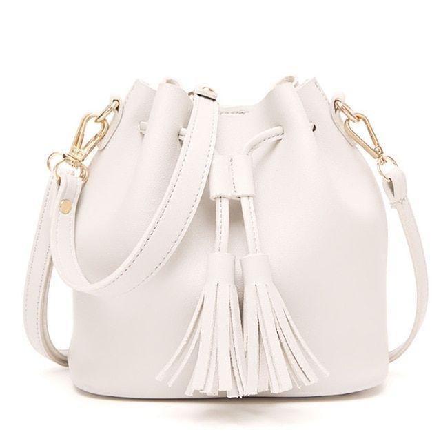 Tassel Small Handbag Women Bucket Bag Drawstring Shoulder Bag Crossbody Bags