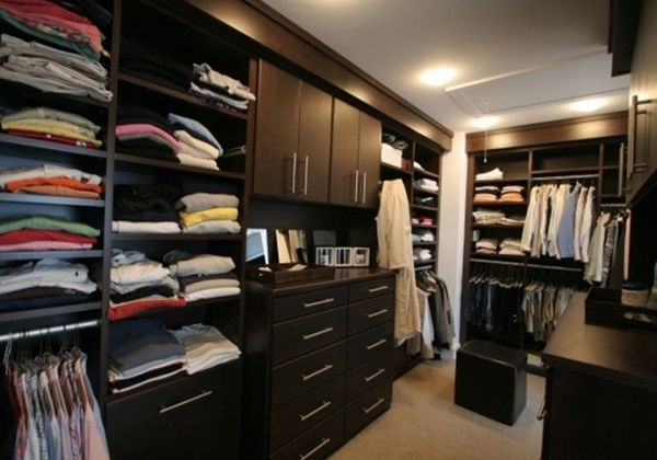 Contemporary Walk In Closet System In Chocolate Peartree   Plenty Of Space  For Tees And Sweaters In Master Closet.