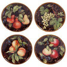 "Capri 8.75"" 4 Piece Dessert Plate Set"