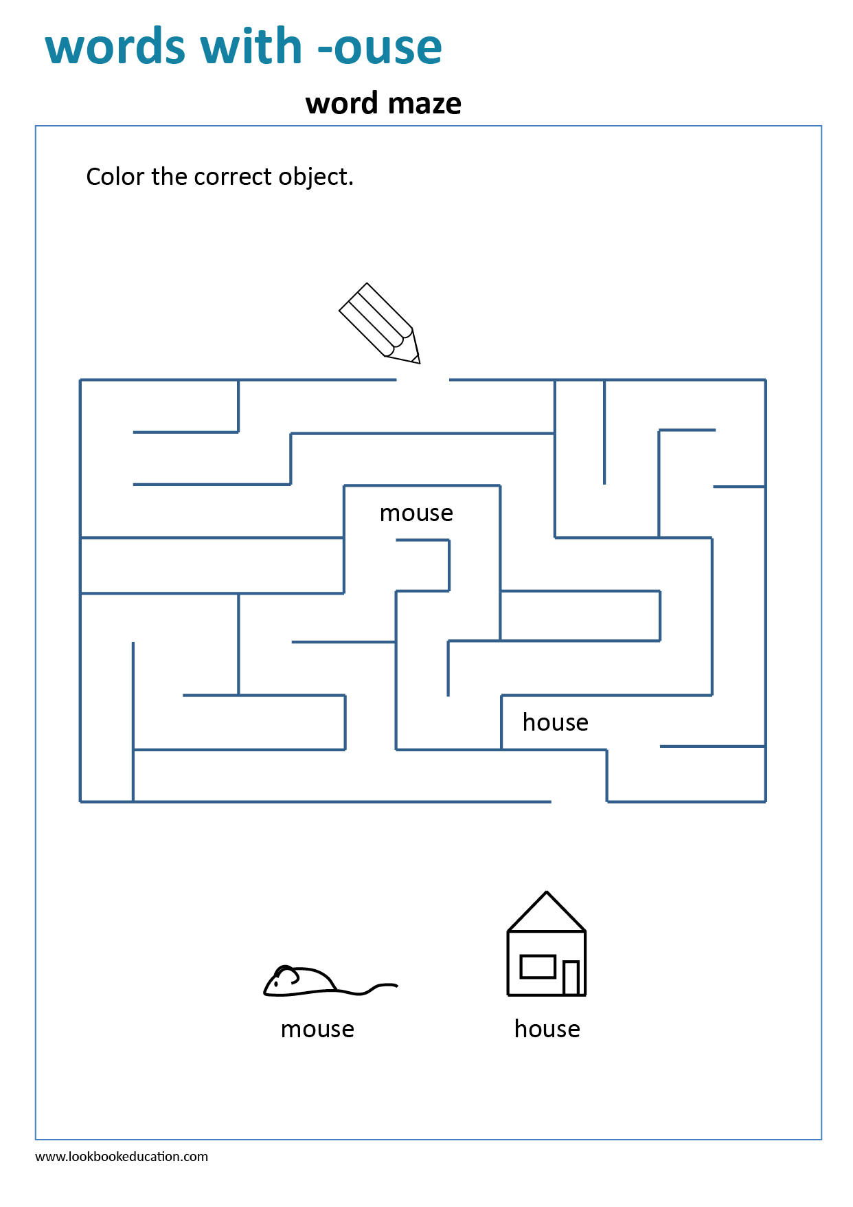 Worksheet Words With Ouse Maze In