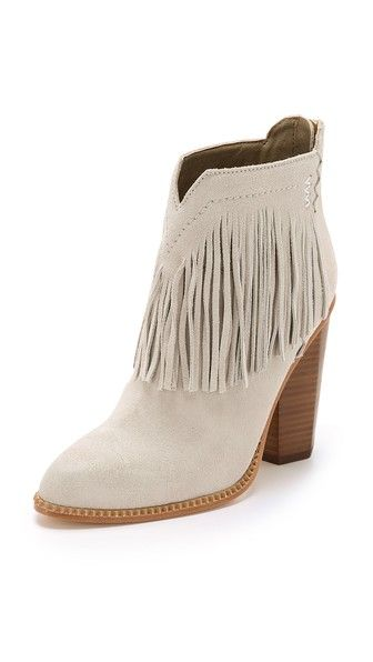 Cynthia Vincent Native Suede Fringe Booties - Winter White - http://musteredlady.com/cynthia-vincent-native-suede-fringe-booties-winter-white/  .. http://goo.gl/EoVgVz |  MusteredLady.com