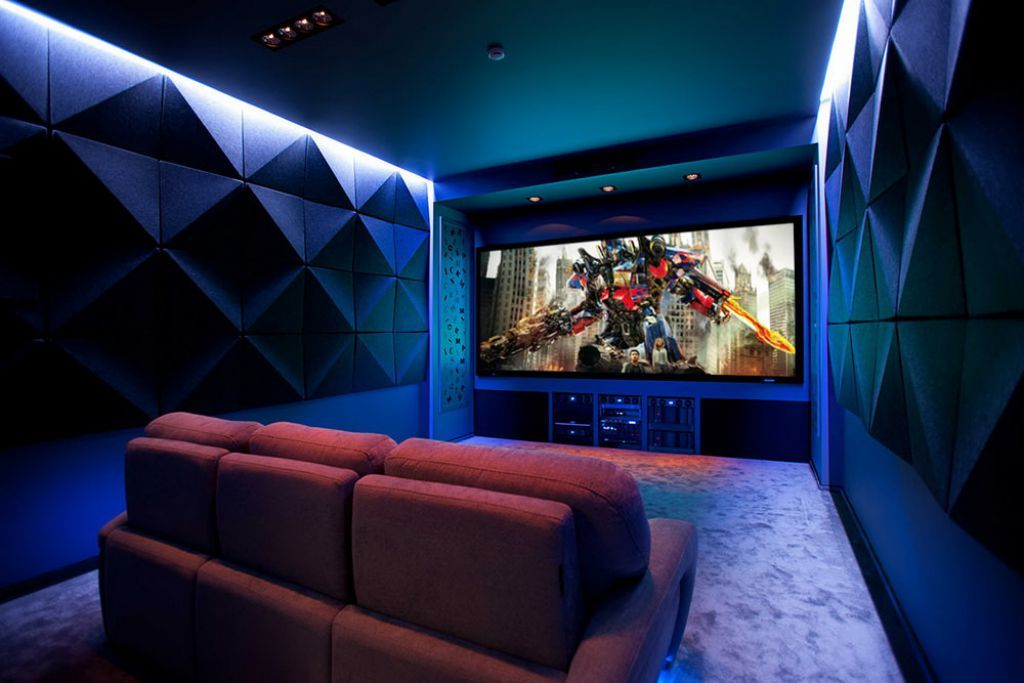 Perfect Contemporary Home Theater With Flat Home Theater Ceiling And Modern Lights  : Some Ideas Of Home Theater Ceiling