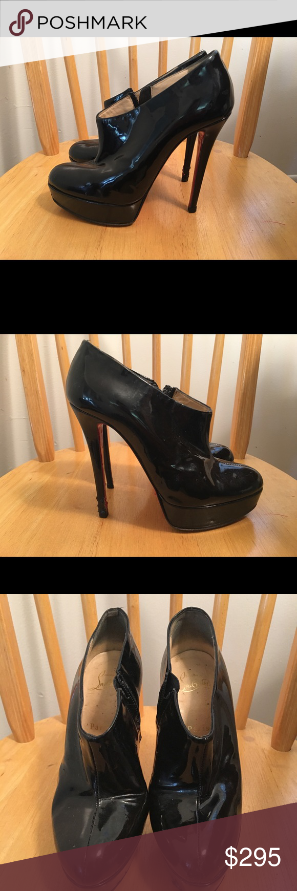 6d447f5d53c Christian Louboutin Moulage Platform Booties Authentic Christian Louboutin  Size 37.5 Black Patent Leather With Zip Closure Damage To Heel