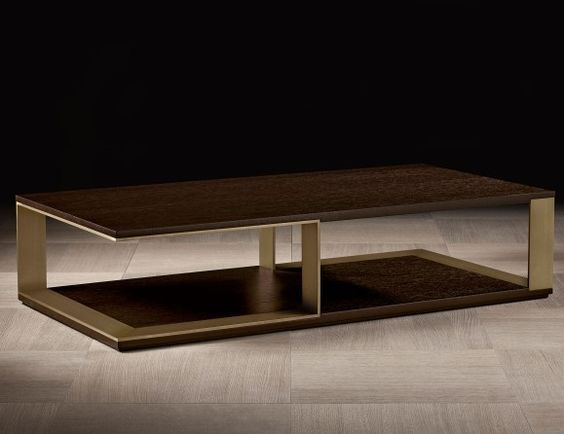 Nella Vetrina Hector Luxury Italian Coffee Table In Mocha Oak Wood