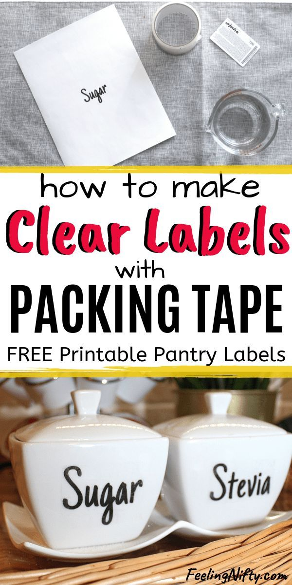 The Easiest Way to Make Clear Stickers - DIY Clear Labels for Jars. This image transfer teqhnique can be used for gift tags, used on fabric, for baskets, for bins, for plastic. Includes free printable sheet of pantry labels so you can use in your own home. We used a handwritten type font so the labels have a decorative flair!