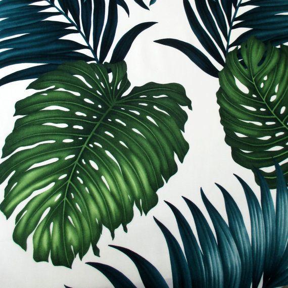 tissu tropical grandes feuilles sur ivoire par. Black Bedroom Furniture Sets. Home Design Ideas