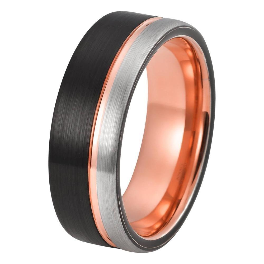 Black Rose Gold Wedding Band Ring Brushed Silver Tungsten Carbide 8mm 18k Tungsten Ring Black Tungsten Rings Rings Mens Wedding Bands Black Tungsten Mens Rings