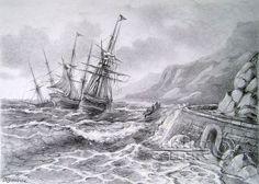Rough Seas Landscape Pencil Drawings Landscape Drawings Drawings