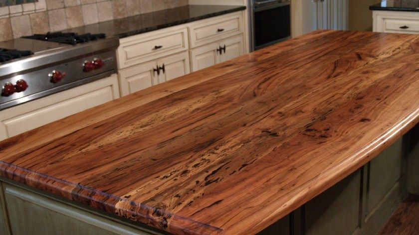 End grain kitchen island countertop made from reclaimed ...