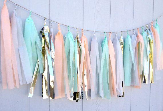 Cool Pastels Tissue Paper Tassel Garland  - Party - Wedding - Baby Shower - Nursery