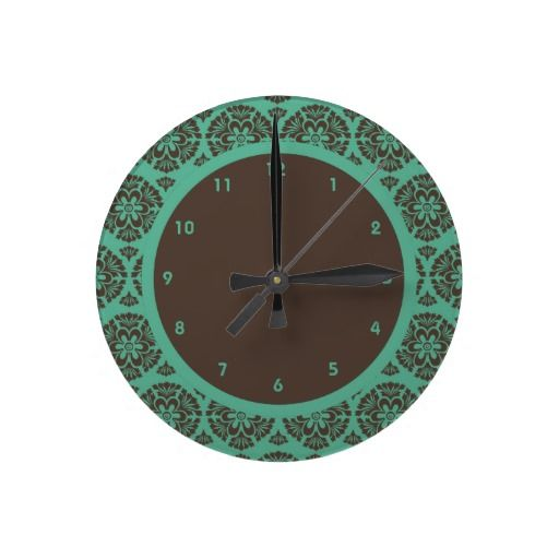 Brown And Teal Damask Round Clock