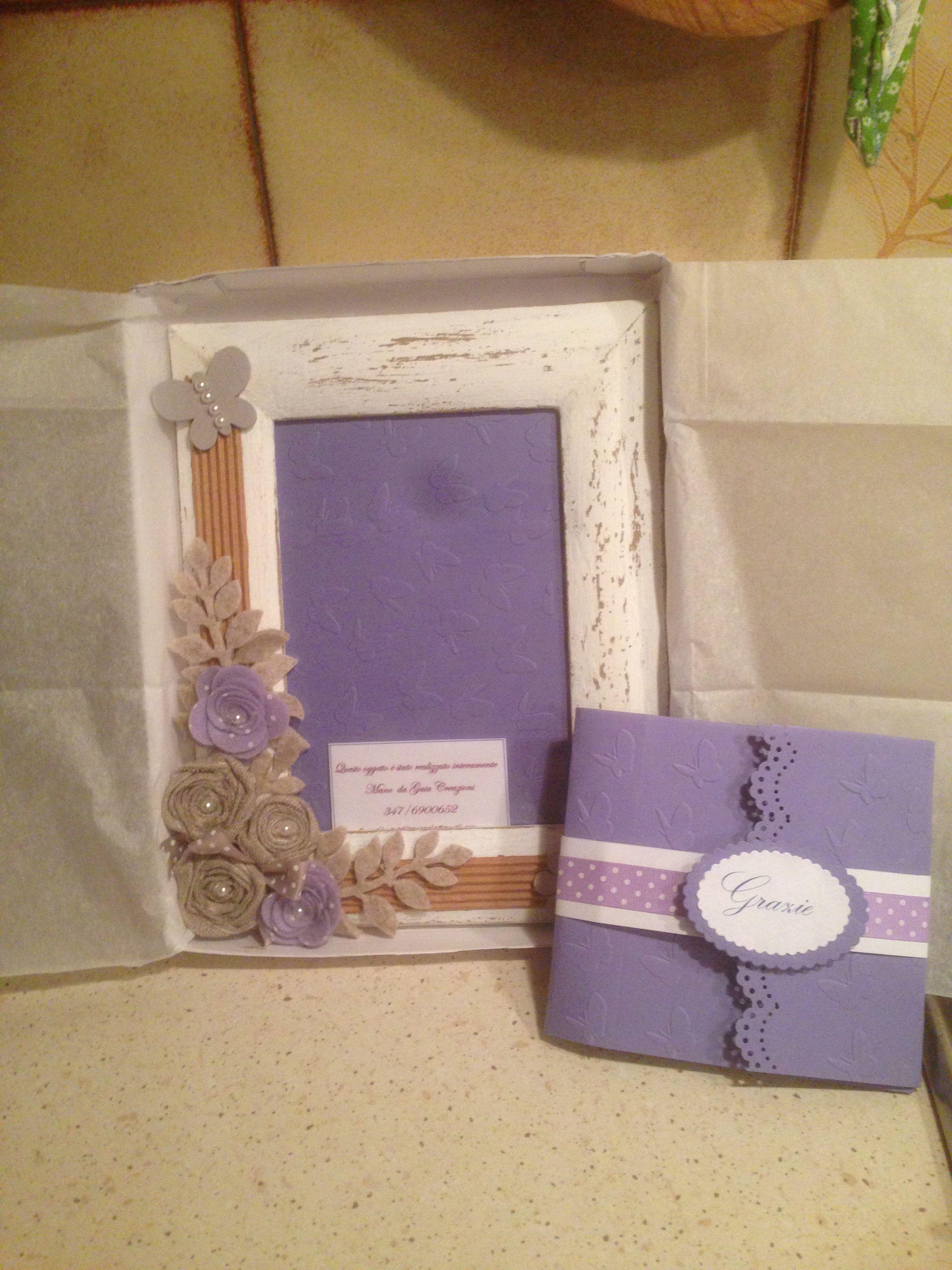 Cornice schabby regalo per madrina di cresima e biglietto di ringraziamento coordinato