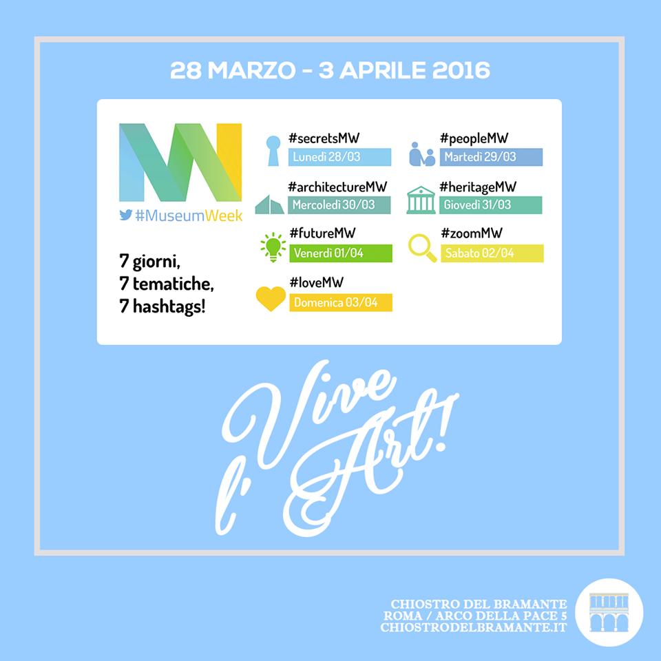 Da domani 28 marzo al 3 aprile ritorna su Twitter la #MuseumWeek. Seguici anche sul nostro canale @chiostrodelbram e celebra l'arte insieme a noi!