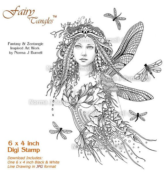 Dragonflies Fairy Tangles Digital Stamp Fairies by Norma J Burnell 4x6 Digi Stamp for Scrapbooking Card Making Crafting Fairies Dragonfly